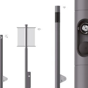 Selux Multifunktionsstele Lif mit den Modulen Kamera, Display und WLAN